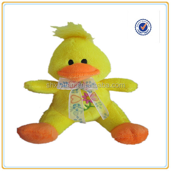 2015 new design stuffed easter plush yellow duck toy