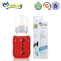 Promotional Glass Baby Feeding Bottle with protected silicone sleeve cover