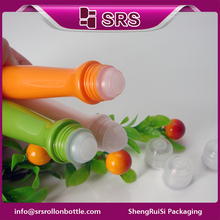 wholesale good quality special shape 15ml plastic roller ball bottle
