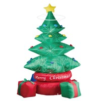 LED lighted Inflatable Christmas Tree with red &green Gift Boxes and Star Party Decoration