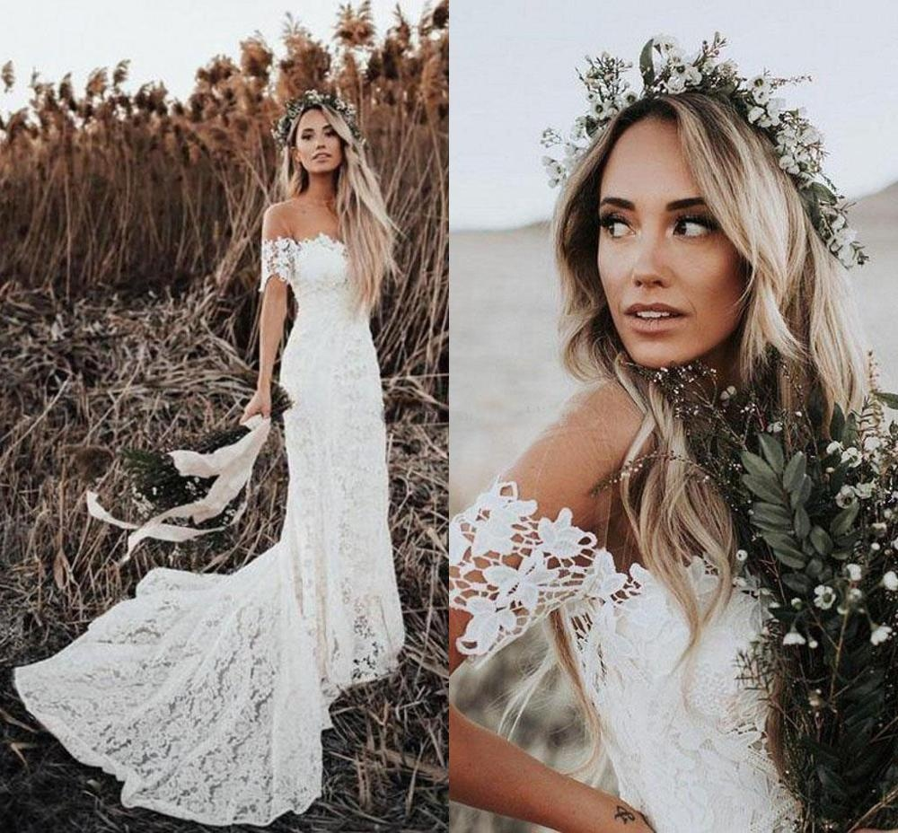 Elegant Boho Lace Mermaid Wedding Dresses Off Shoulder Short Sleeves Bridal Dresses Beach Wedding Gowns With High Quality Lace Buy Wedding Dress Bridal Gown Bridal Dresses Vestido De Noiva Product On Alibaba Com,Mermaid Most Popular Wedding Dresses