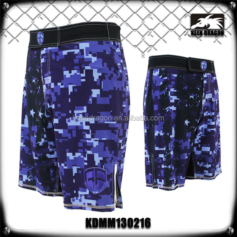BLUE CAMO HIGH QUALITY FIGHT SHORTS FOR MEN MICROFIBER FABRIC