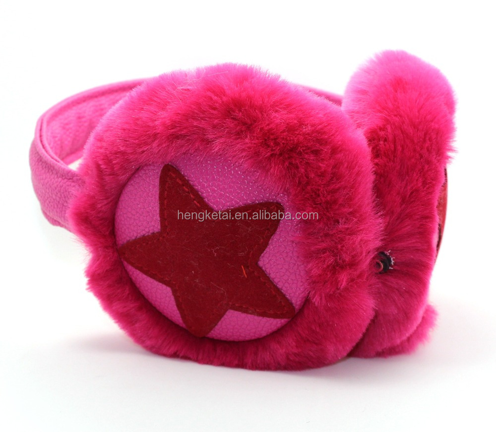Warm plush fluffy earmuff wired stereo headphones,soft comfortable wearing headsets with star pattern for winter