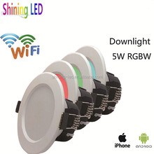 Hot New Products Android IOS wifi 5W RGB+W LED Downlight