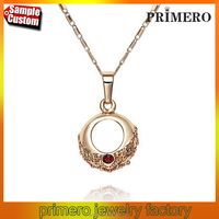 Fashion Rose Gold Plating Round Designs Pendant Necklace Austrian Crystal Jewelry