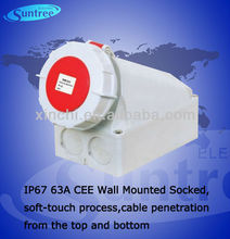 IP67 63A outdoor socket outlet,soft-touch process,cable penetration from the top and bottom