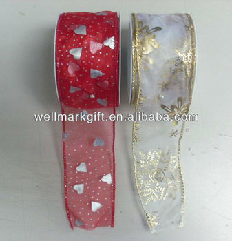 Hot Stamp Printing Organza Organdy Mesh Sheer Woven Fabric Gift Wrapping Wired Edge Ribbon