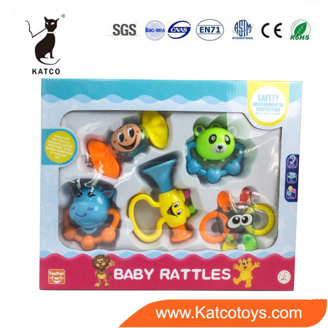 High Quality Plastic Baby Shaker Rattle Set Toy 5 PCS Music Teether Toy For The Reborn Baby