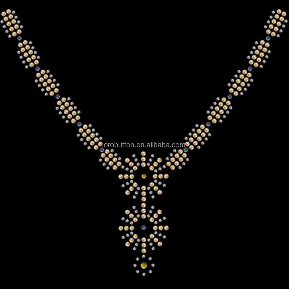 Hot fix rhinestone transfer motifis choker necklaces for garment