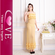 Hot Women Night Gowns Yellow Sexy Bridal Night Sleeping Dress Design