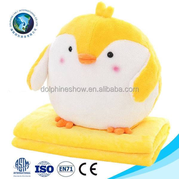 Stuffed plush animal pillow blanket for kids Wholesale cheap custom soft plush yellow chick 2 in 1 pillow coral fleece blanket