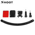 For gopro camera accessories kit helmet extensin arm + curved adhesive screw mount for gopro hero 4 3 Xiao mi Yi sjcam SJ4000