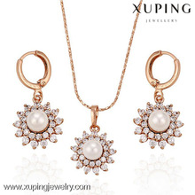 63145 xuping jewelry rose gold wedding chic single pearl jewellery,necklace set,jewelry set