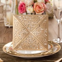 wholesale Wedding / birthday Invitation Laser Cut Greeting Cards CW520_GO Gold color