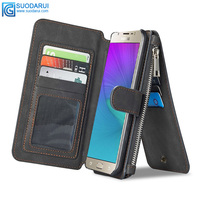 Detachable Leather Magnetic Sport Wallet Flip Case Folio Stand Case Zipper Coin Purse Card For Samsung Galaxy J5 2016
