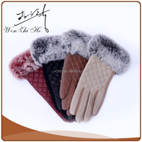 Separated Five Fingers Lady PU Leather Hand Gloves