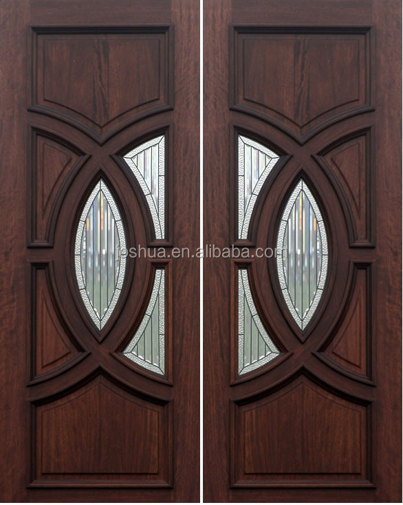 Solid wood door mahogany double door with circle round for Double door wooden door