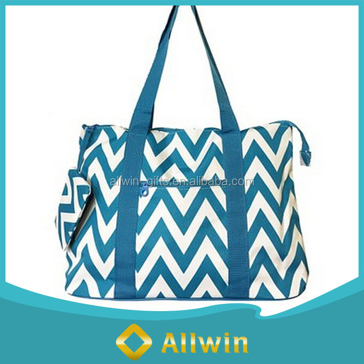 Custom wholesale chevron cotton canvas beach bag with a coin purse