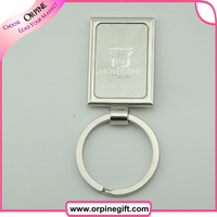 promotional gifts custom rectangle shape metal key ring