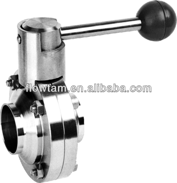 2016 Hot Sale, Sanitary Butterfly Valve, Manual, Squeeze Handle, Stainless Steel SS304/SS316L Butterfly Valve