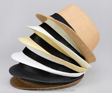 White straw panama fedora short brim summer felt hat