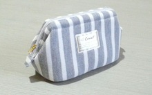 Grey and white trio stripe satin new hot sale travel cosmetic bag with cotton material