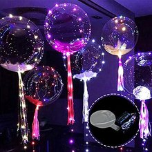Glowing Balloons LED Light 3D Bubble Ball 18 Inch Transparent Inflatable Decorative Hanging Balls For Indoor Bar Club Decoration