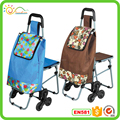 Foldable shopping trolley cart with chair
