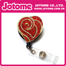 Costume Jewelry Crystal Gold Plated Red Heart Brooch/Button/Pendant Retractable Badge Reel/ ID Badge Holder