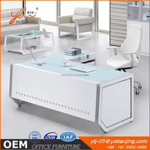 Hot sell modern executive office desk White glass steel office computer desk with locking drawer Office table with glass top