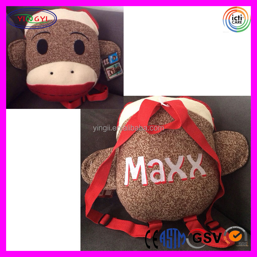B360 Knitted Yarn Sock Monkey Backpack Kids Plush Head Raw Material Backpack