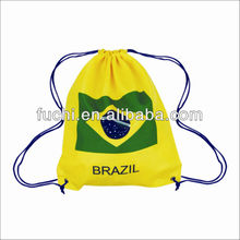 Hot Selling Polyester Brazil Flag Drawstring Bag For World Cup 2014 Flag Packpack in Competitive Price
