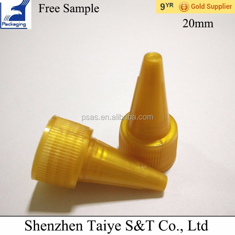 20mm Plastic spout cap & pointed mouth closures with twist lids