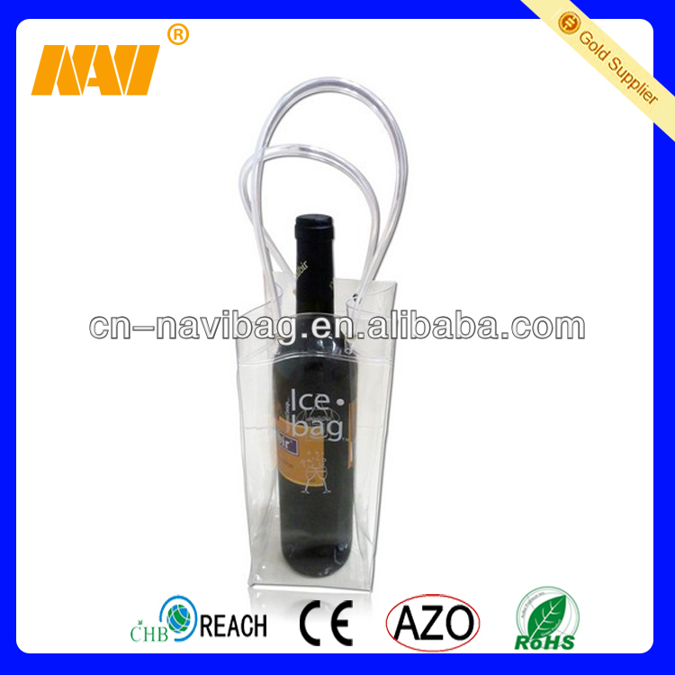 Promotional pvc wine cooler plastic bag(NV-PVC029)