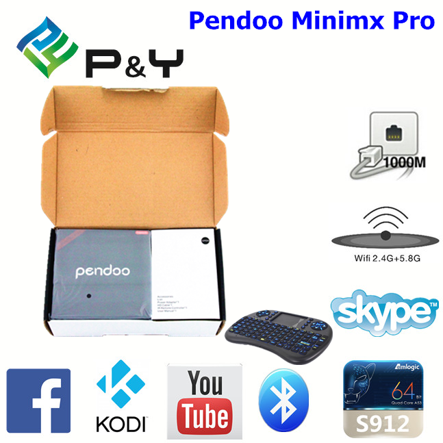 2017 hot sale Pendoo Minimx Pro S912 2G 16G 4k kodi tv dongle with high quality KODI TV Box