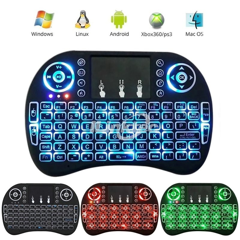 New release air mouse backlit keyboard gamer with touchpad for android tv box up to 15 meters