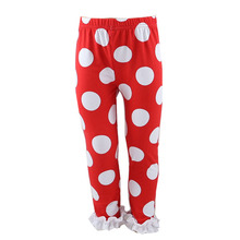 Popular imported clothes big white polka dots white leggings child remake knit baby tights for girls kids ruffle icing pants
