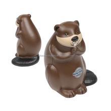 factory supplier promotional gift animal custom PU Beaver Stress Ball