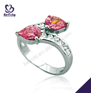 Pink cz set silver fashion maple leaf engagement rings