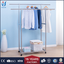 Double-pole extendable mental clothes drying rack