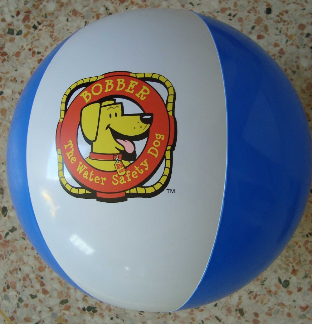 White and Blue PVC Inflatable Beach Ball with Customized LOGO