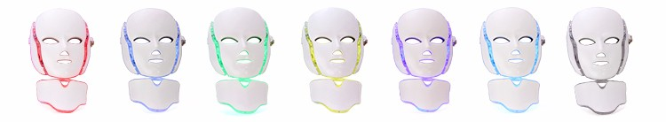 7 led photon facial mask led light therapy mask with neck