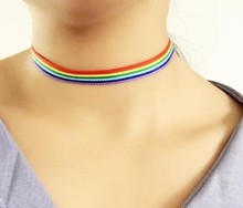 fashion women Rainbow Choker Collar Necklace Jewelry
