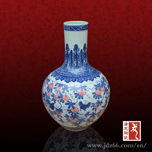 Modern style underglaze red glazed antique vases ming for art collect
