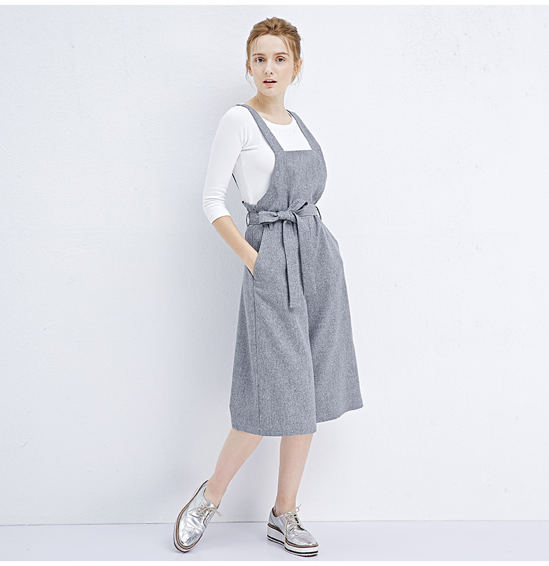 Polyester chic Jumpsuit bowknot bandage grey Wide-legged pants autumn winter stylish girls wear