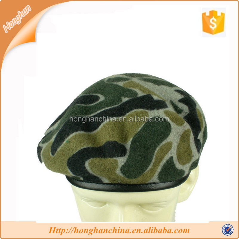 camo army wool beret hat