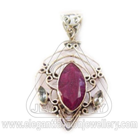Sterling Silver Jewelry Designer Jewelry Cut stone Ruby Pendant
