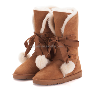 Supply Genuine Leather Sheepskin Lady's Snow Boots