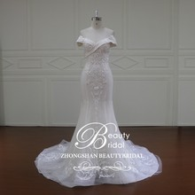 XF16010 off the shoulder wedding dresses with sleeves,sweetheart neckline mermaid cap wedding dress
