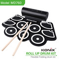 Konix Educational Kit For Kids MIDI Roll Up Silcone Drum Kits Built-in Speaker Fun Toys Game Player Music Instrument